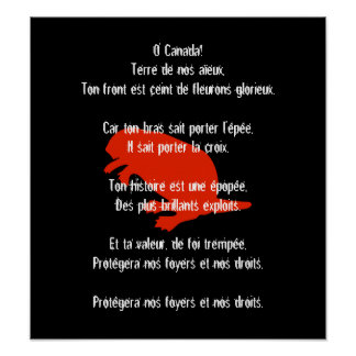 Canada Day Beaver Red French Anthem Poster 2