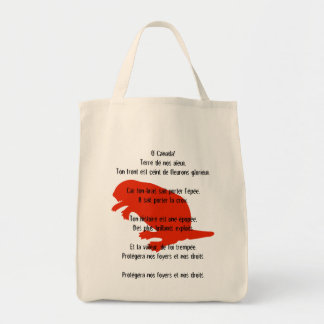 Canada Day Beaver Red French Anthem Tote Bag