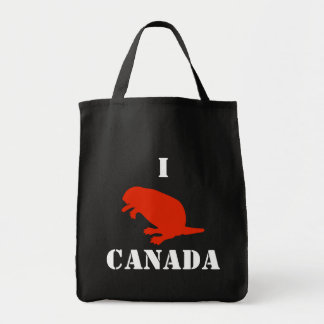 Canada Day Beaver Red Grocery Tote Bag