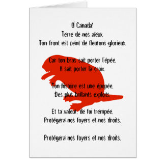Canada Day Beaver Red White French Anthem Card