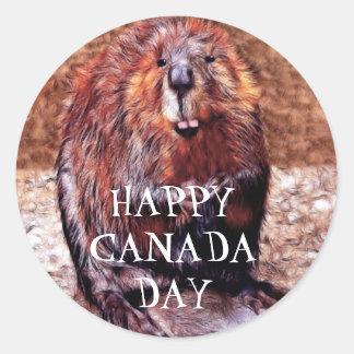 Canada Day Beaver Round Sticker