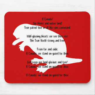 Canada Day Beaver White Red Anthem Mousepad