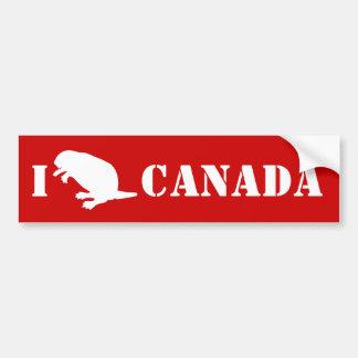 Canada Day Beaver White Red Bumper Sticker