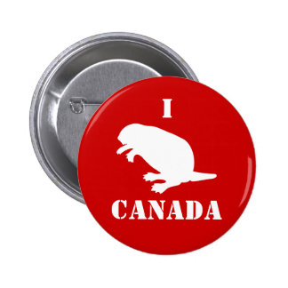Canada Day Beaver White Red Button
