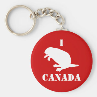 Canada Day Beaver White Red Keychain