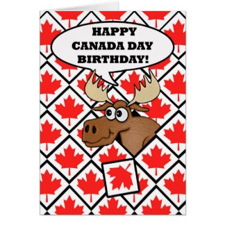 Canada Day Birthday Card, Moose, Maple Leaves Card