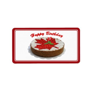 Canada Day Canadian Cherry Maple Leaf Cake Labels