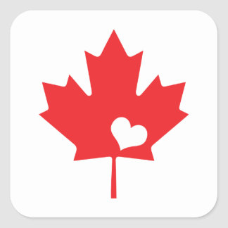 Canada Day Canadian Maple Leaf and Heart Square Sticker
