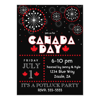 Canada Day Fireworks Party Invitations