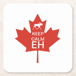 Canada Day KEEP CALM EH Square Paper Coaster