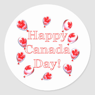 Canada Day Maple Leaf Balloons Round Stickers