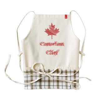 Canada Day maple leaf red & white flag Chef Zazzle HEART Apron