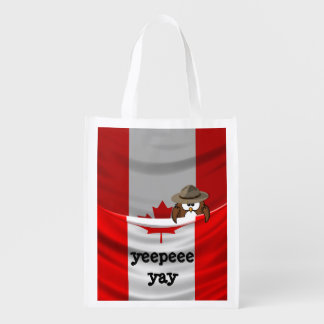 Canada Day owl Grocery Bag
