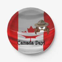 Canada Day owl Paper Plate