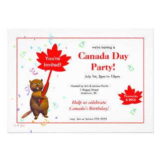 Canada Day Party Beaver Personalized Invite
