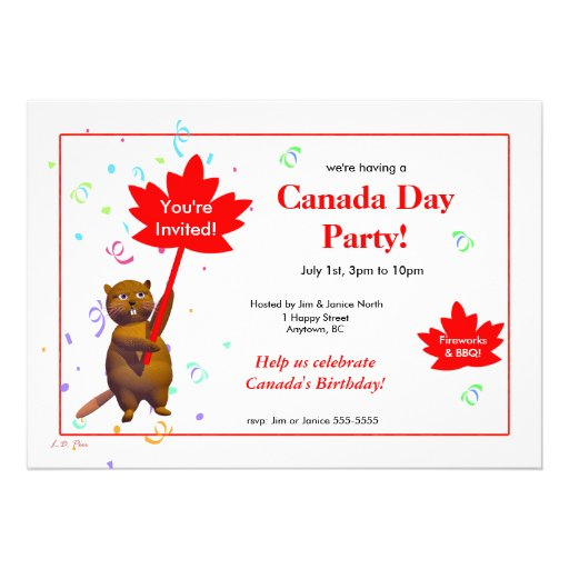 Canada Day Party Beaver Personalized Invite