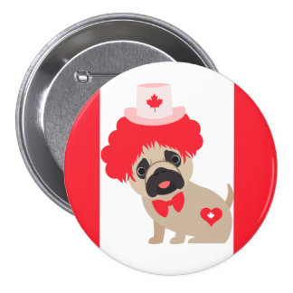 Canada Day Pug in Red Wig Pinback Button