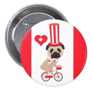 Canada Day Pug on Bicycle Pinback Button