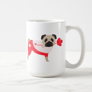 Canada Day Pug - Pug with Maple Leaf Headband Classic White Coffee Mug