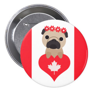 Canada Day Pug with Heart Pinback Button