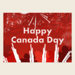 Canada Day with Fireworks and Maple Leaves Photo Print