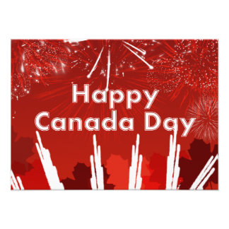 Canada Day with Fireworks and Maple Leaves Art Photo