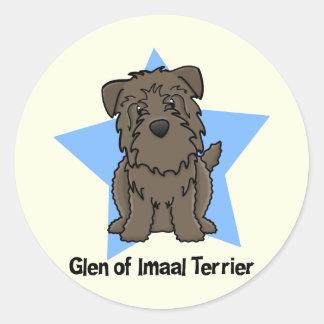 Cañada de la estrella de Kawaii de Imaal Terrier Pegatina Redonda