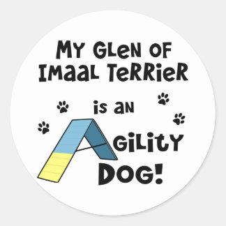 Cañada del perro de la agilidad de Imaal Terrier Pegatina Redonda