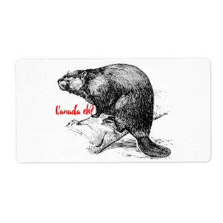Canada Eh ? Beaver Sticker label Lighthouse Route