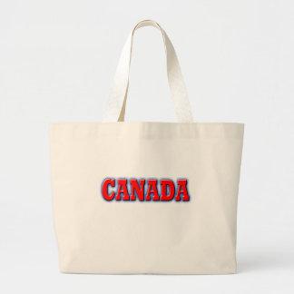 Canadá en letras rojas intrépidas bolsa tela grande