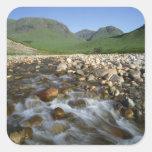 Cañada Etive, montañas, Escocia 2 Pegatina Cuadrada