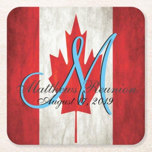 Canada Family Reunion Flag Monogram Square Paper Coaster