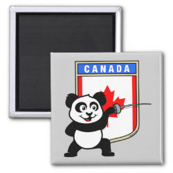 Square Magnet with Canadian Fencing Panda design