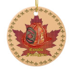Canada Firefighter Maple Leaf Ceramic Ornament