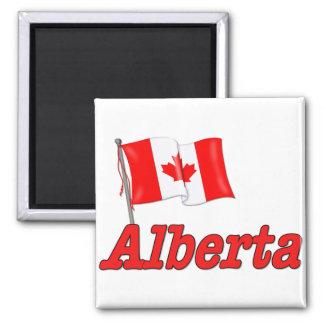 Canada Flag - Alberta 2 Inch Square Magnet
