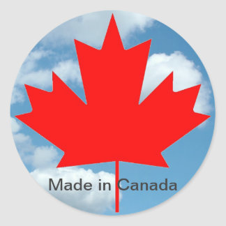 Canada flag and blue sky , made in Canada Classic Round Sticker
