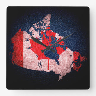 Canada Flag and Map Square Wall Clock