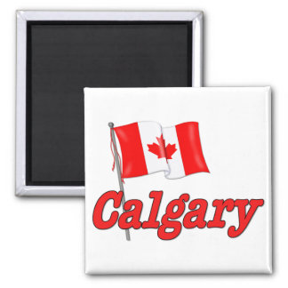 Canada Flag - Calgary 2 Inch Square Magnet
