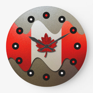Canada Flag-Chrome by Shirley Taylor Large Clock