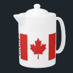 """CANADA-Flag-classic Teapot<br><div class=""""desc"""">This simple but pretty design features the iconic Maple Leaf flag,  with the word """"Canada"""" between the two flags which encompass the middle of the pot. You may customize or delete the word """"Canada"""" if you wish.</div>"""