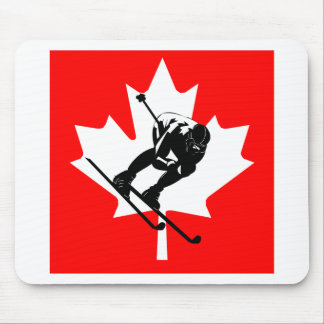 Canada flag downhill skier mouse pad