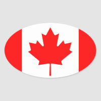 Canada* Flag European-style Oval Sticker