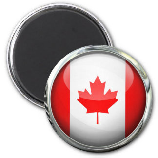 Canada Flag Glass Ball 2 Inch Round Magnet