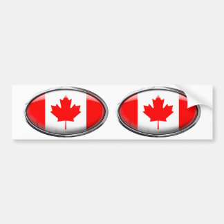 Canada Flag Glass Oval Bumper Sticker
