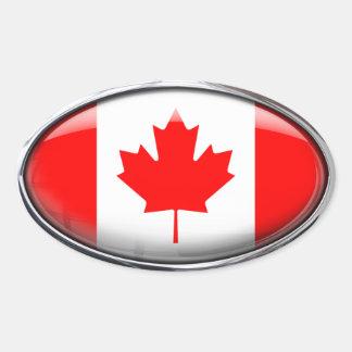 Canada Flag Glass Oval Oval Sticker