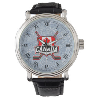 Canada Flag Hockey Logo Wrist Watches