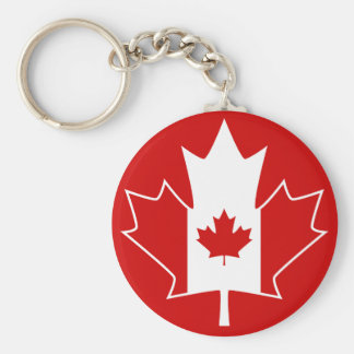 Canada Flag in Maple Leaf - Red Basic Round Button Keychain