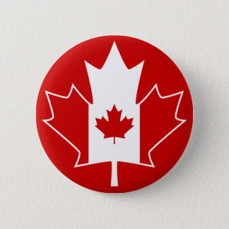 Canada Flag in Maple Leaf - Red Pinback Button