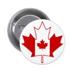 Canada Flag in Maple Leaf - White 2 Inch Round Button