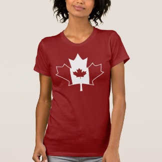 Canada Flag in Maple Leaf - Womens Red TShirt